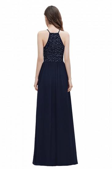 BMbridal Glamorous Halter A-line Bridesmaid Dress Chiffon Sequins Elegant Party Maxi Dress_13