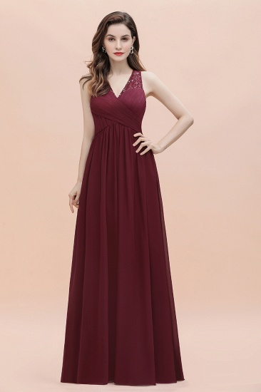 BMbridal Elegant V-Neck Lace Ruffles Bridesmaid Dress Sequins Burgundy Chiffon Evening Dress_8