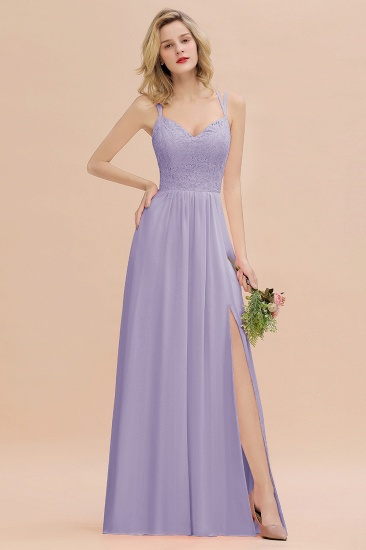BMbridal Sexy Spaghetti-Straps Coral Lace Bridesmaid Dresses with Slit_21