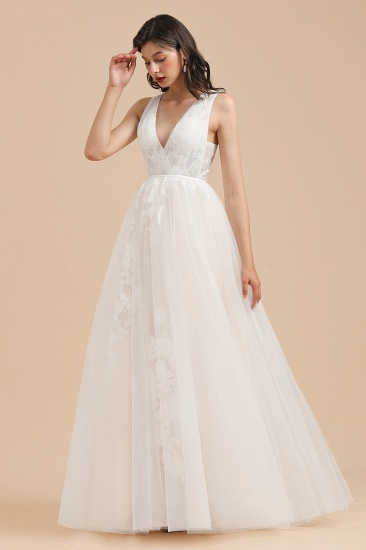 Simple Ivory V-Neck Tulle Lace Wedding Dress Appliques Garden Bridal Gowns