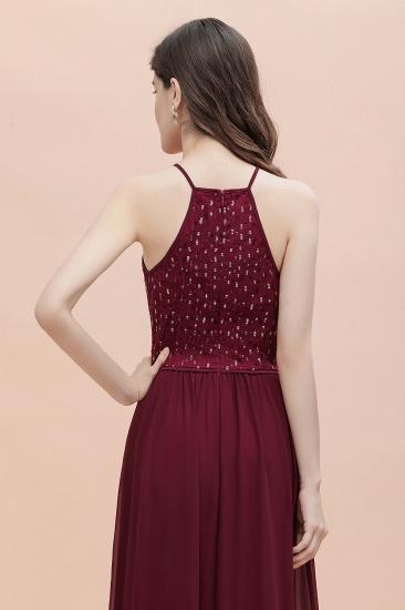 BMbridal Glamorous Halter A-line Bridesmaid Dress Chiffon Sequins Elegant Party Maxi Dress_9