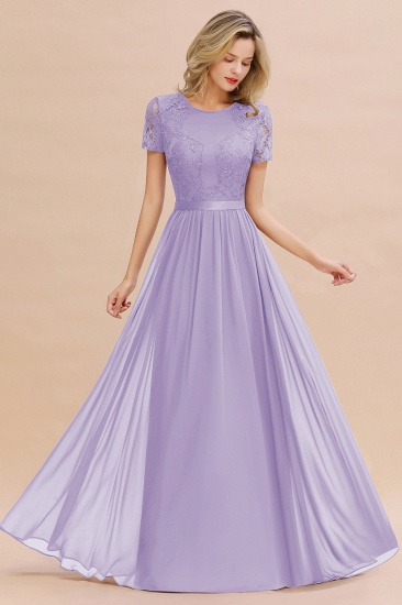 BMbridal Elegant Chiffon Lace Jewel Short-Sleeves Affordable Bridesmaid Dress_21