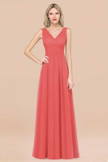 BMbridal Glamorous Chiffon V-Neck Sleeveless Burgundy Bridesmaid Dress with Draped Back_7