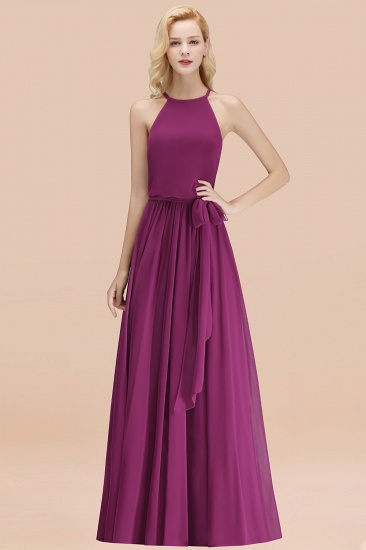 BMbridal Affordable Halter Bow Long Bridesmaid Dress Modest Burgundy Chiffon Wedding Party Dress_42