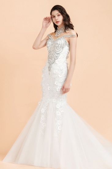 BMbridal Luxury Mermaid Wedding Dress Tulle Lace Sequins Sleeveless Bridal Gowns with Pearls_6