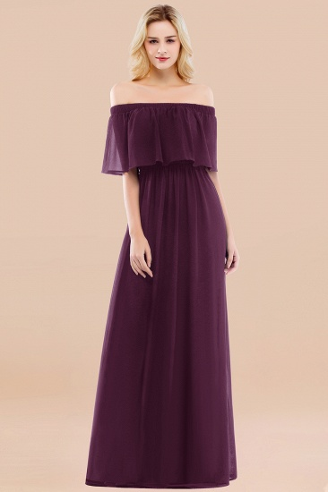 BMbridal Vintage Off-the-Shoulder Long Burgundy Bridesmaid Dress with Ruffle_20