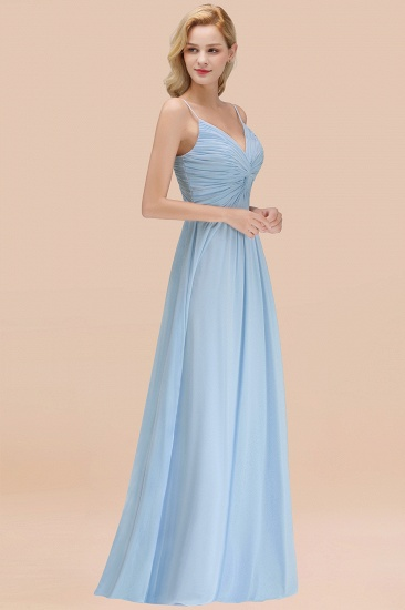 BMbridal Chic V-Neck Pleated Backless Bridesmaid Dresses with Spaghetti Straps_53