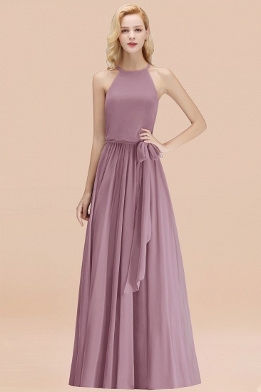 BMbridal Affordable Halter Bow Long Bridesmaid Dress Modest Burgundy Chiffon Wedding Party Dress_43