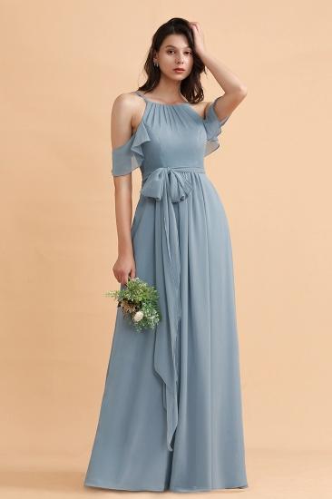 BMbridal Stylish Cold-Shoulder Ruffles Chiffon Bowknot Bridesmaid Dress with Pockets On Sale_7