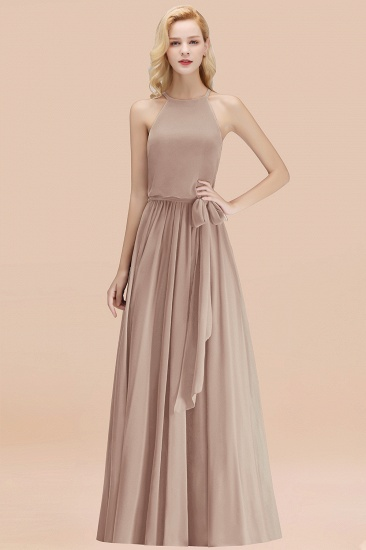 BMbridal Affordable Halter Bow Long Bridesmaid Dress Modest Burgundy Chiffon Wedding Party Dress_16