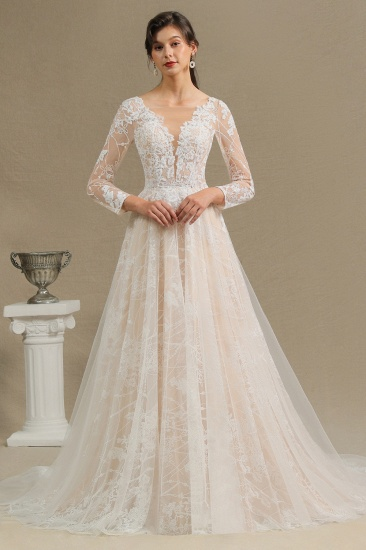 Chic A-line Tulle Lace Wedding Dress Long Sleeves Ivory Bridal Gowns On Sale