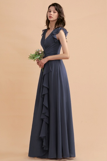 BMbridal Affordable V-Neck Chiffon Ruffles Bridesmaid Dress with Pockets On Sale_7