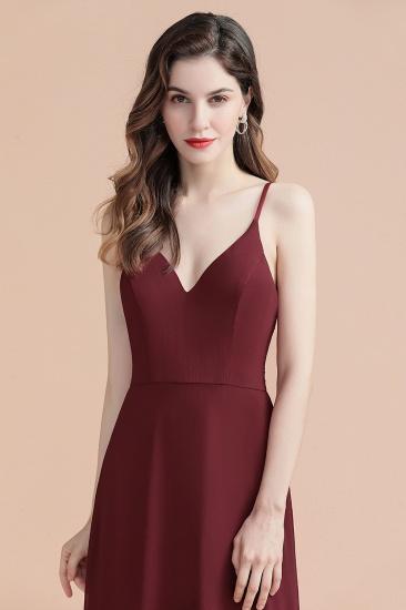 BMbridal Elegant V-Neck Burgundy Chiffon Bridesmaid Dress Lace Sequins Spaghetti Straps Evening Dress_14