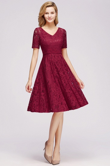 BMbridal Burgundy Lace Short Sleeve Homecoming Dress Mini Party Dress On Sale_7