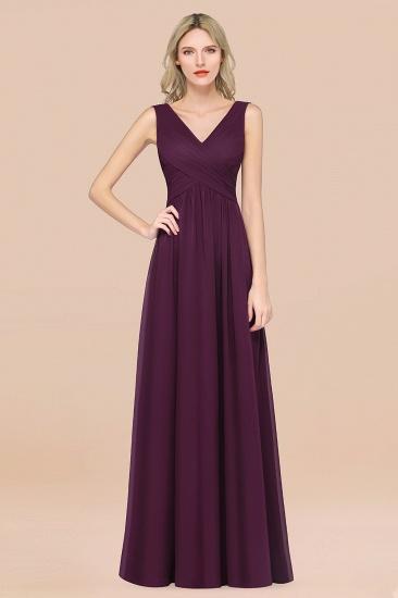 BMbridal Glamorous Chiffon V-Neck Sleeveless Burgundy Bridesmaid Dress with Draped Back_20