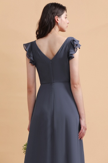 BMbridal Affordable V-Neck Chiffon Ruffles Bridesmaid Dress with Pockets On Sale_11