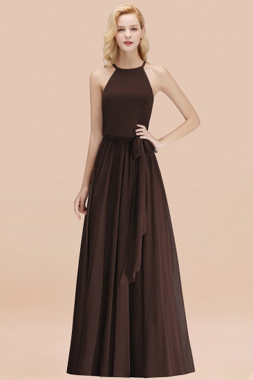 BMbridal Affordable Halter Bow Long Bridesmaid Dress Modest Burgundy Chiffon Wedding Party Dress_11