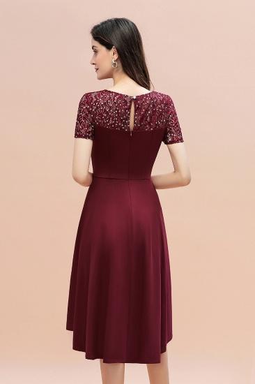 BMbridal Lovely Jewel Satin Sequins Bridesmaid Dress Short Sleeve Burgundy Cocktail Dress_5