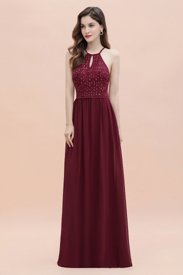 BMbridal Glamorous Halter A-line Bridesmaid Dress Chiffon Sequins Elegant Party Maxi Dress_7
