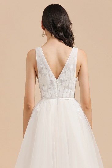 BMbridal Simple Ivory V-Neck Tulle Lace Wedding Dress Appliques Garden Bridal Gowns_8