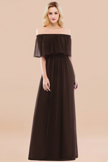 BMbridal Vintage Off-the-Shoulder Long Burgundy Bridesmaid Dress with Ruffle_11