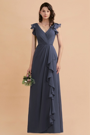 BMbridal Affordable V-Neck Chiffon Ruffles Bridesmaid Dress with Pockets On Sale_1