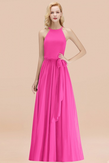 BMbridal Affordable Halter Bow Long Bridesmaid Dress Modest Burgundy Chiffon Wedding Party Dress_9