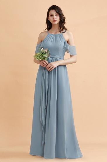 BMbridal Stylish Cold-Shoulder Ruffles Chiffon Bowknot Bridesmaid Dress with Pockets On Sale_6
