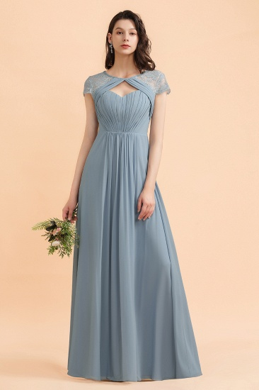 BMbridal Chic Short Sleeves Lace Chiffon Bridesmaid Dress with Ruffles Online