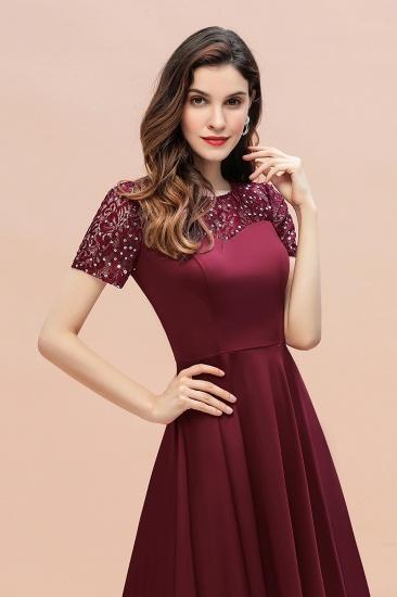 BMbridal Lovely Jewel Satin Sequins Bridesmaid Dress Short Sleeve Burgundy Cocktail Dress_13