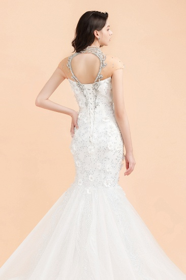 BMbridal Luxury Mermaid Wedding Dress Tulle Lace Sequins Sleeveless Bridal Gowns with Pearls_8
