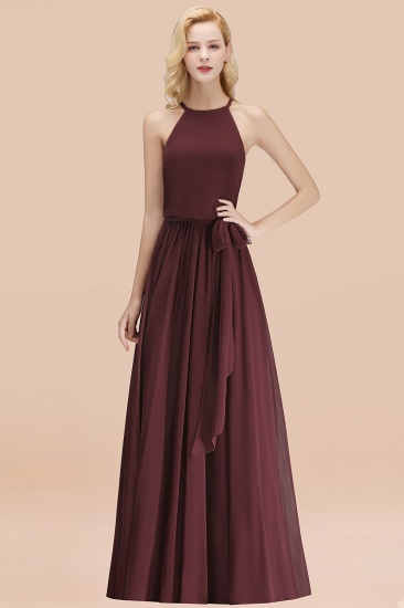 BMbridal Affordable Halter Bow Long Bridesmaid Dress Modest Burgundy Chiffon Wedding Party Dress_47