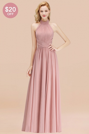 BMbridal Gorgeous High-Neck Halter Backless Bridesmaid Dress Dusty Rose Chiffon Maid of Honor Dress_51