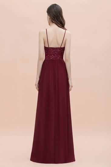 BMbridal Fabulous A-line Burgundy Chiffon Bridesmaid Dress V-Neck Spaghetti Straps Sequins Evening Dress_5