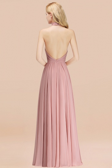BMbridal Gorgeous High-Neck Halter Backless Bridesmaid Dress Dusty Rose Chiffon Maid of Honor Dress_52