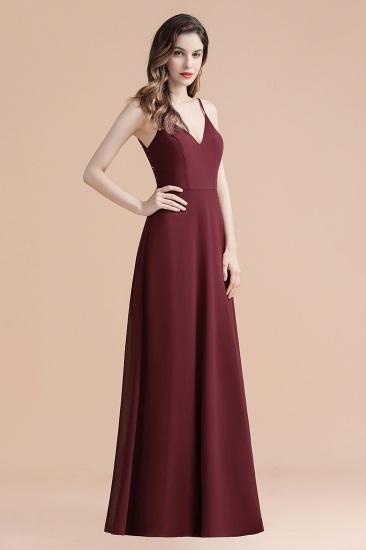 BMbridal Elegant V-Neck Burgundy Chiffon Bridesmaid Dress Lace Sequins Spaghetti Straps Evening Dress_8