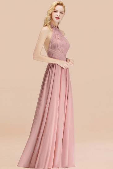 BMbridal Gorgeous High-Neck Halter Backless Bridesmaid Dress Dusty Rose Chiffon Maid of Honor Dress_53