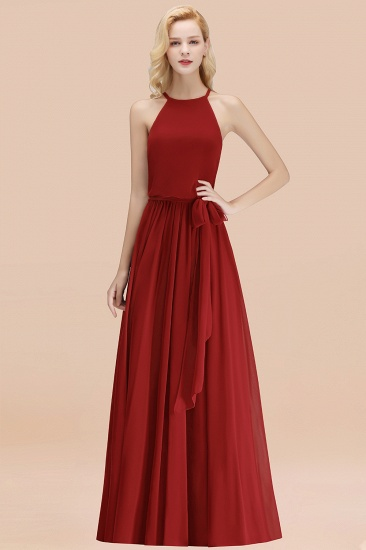 BMbridal Affordable Halter Bow Long Bridesmaid Dress Modest Burgundy Chiffon Wedding Party Dress_48