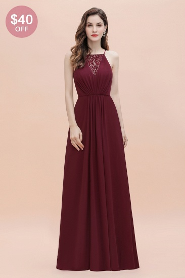 BMbridal Sexy V-neck Burgundy Chiffon Bridesmaid Dress Spaghetti Straps Lace Sequins Evening Dress