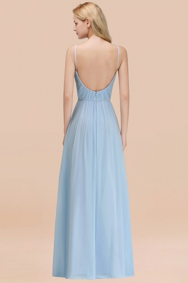 BMbridal Chic V-Neck Pleated Backless Bridesmaid Dresses with Spaghetti Straps_52