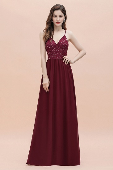 BMbridal Fabulous A-line Burgundy Chiffon Bridesmaid Dress V-Neck Spaghetti Straps Sequins Evening Dress_16