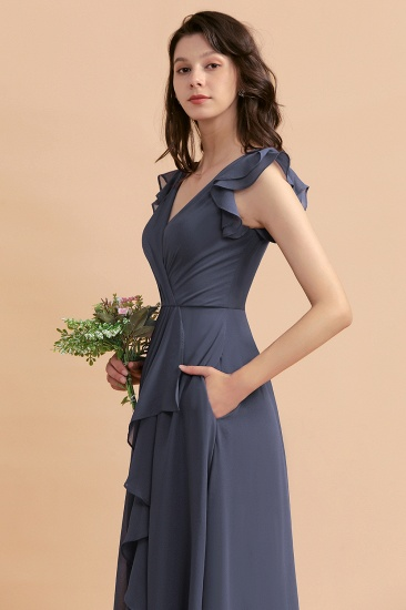 BMbridal Affordable V-Neck Chiffon Ruffles Bridesmaid Dress with Pockets On Sale_10