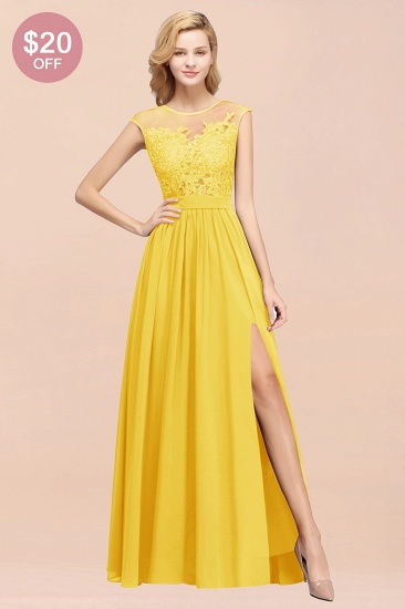 BMbridal Affordable Scoop Lace Appliques Yellow Bridesmaid Dresses with Slit_51