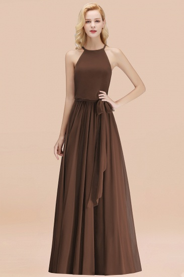 BMbridal Affordable Halter Bow Long Bridesmaid Dress Modest Burgundy Chiffon Wedding Party Dress_12