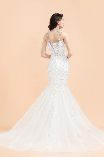 BMbridal Luxury Mermaid Wedding Dress Tulle Lace Sequins Sleeveless Bridal Gowns with Pearls_2
