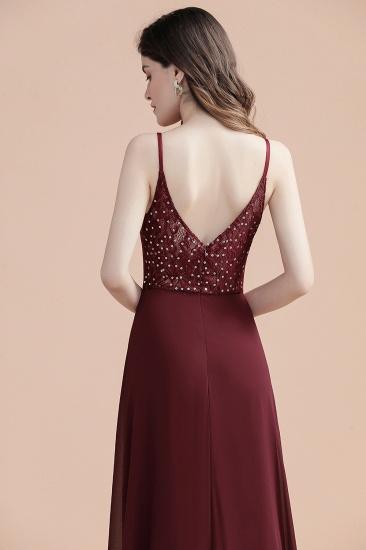 BMbridal Elegant V-Neck Burgundy Chiffon Bridesmaid Dress Lace Sequins Spaghetti Straps Evening Dress_5