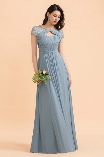 BMbridal Chic Short Sleeves Lace Chiffon Bridesmaid Dress with Ruffles Online_6