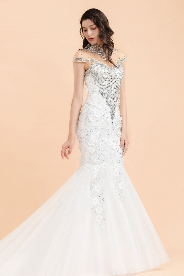 BMbridal Luxury Mermaid Wedding Dress Tulle Lace Sequins Sleeveless Bridal Gowns with Pearls_5