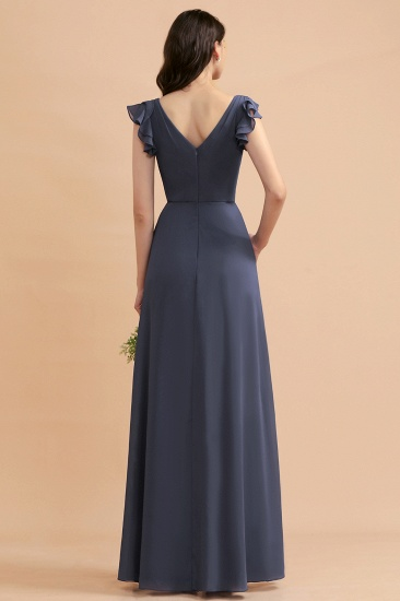 BMbridal Affordable V-Neck Chiffon Ruffles Bridesmaid Dress with Pockets On Sale_3