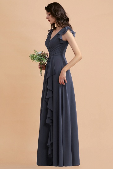 BMbridal Affordable V-Neck Chiffon Ruffles Bridesmaid Dress with Pockets On Sale_8